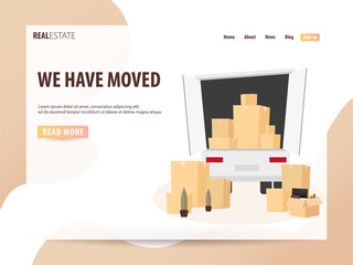 Moving Home, We are moved. Moving Truck with Boxes. Vector cartoon style illustration. UI or landing page
