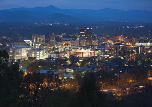 Asheville skyline at night