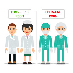 Doctors. Doctor man and woman in uniform for consalting room and operating room. Cartoon illustration isolated on white background in flat. Full length portrait of doctor, nurse or medical assistant