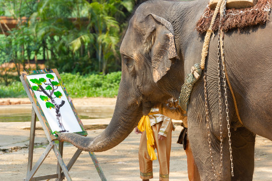 Elephant painting in picture elephant and tree frame, Asia Thailand