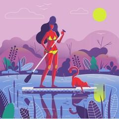 girl on paddle board illustration