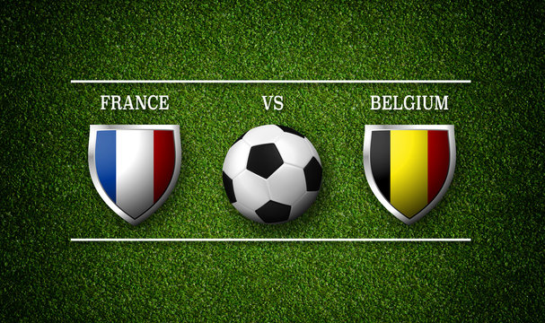 Football Match schedule, France vs Belgium, flags of countries and soccer ball - 3D rendering