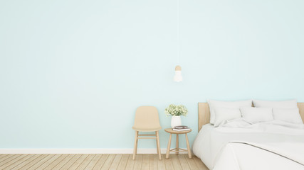 Bright blue bedroom and living area in hotel or apartment - Bedroom simple design for home or resort artwork - 3D Rendering