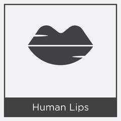 Human Lips icon isolated on white background