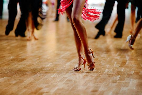feet woman dancer latino international dancing in pink gown
