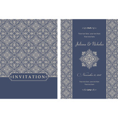 Wedding invitation cards  baroque style blue and beige. Vintage  Pattern. Retro Victorian ornament. Frame with flowers elements. Vector illustration.