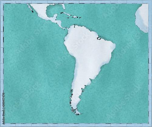 Cartina Del Sud America Disegnata Illustrata Pennellate Cartina
