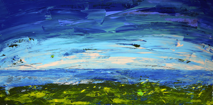 Abstract art painting landscape