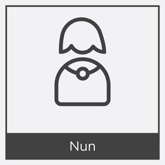 Nun icon isolated on white background