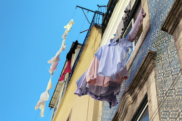 Clothes hanging in a street of Lisbon, Portugal