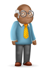 African american european old man adult grandfather 3d cartoon design vector illustration