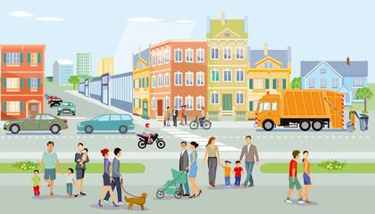 Stadt mit Fußgänger und Verkehr, Illustration