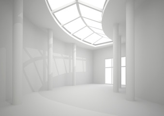 3d illustration. White interior of nonexistent building. Long circular corridor with overhead lighting in perspective. Render.