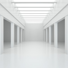 3d illustration. White interior of of not existing building with columns and beamed ceilings and top light in perspective. Symmetrical view, render. Place for text.