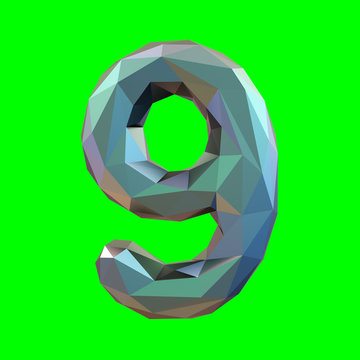 Number 9 nine in low poly style isolated on green background. 3d