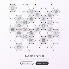 Fabric feature concept in honeycombs with thin line icons: leather, textile, cotton, wool, waterproof, acrylic, silk, eco-friendly material. Modern vector illustration, web page template.