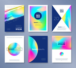 Set of cover design with abstract multicolored shapes. Vector illustration template. Universal abstract design for covers, flyers, banners, greeting card, booklet and brochure.