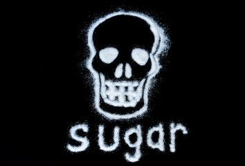 white sugar forming a skull with text 'sugar' on a black background.