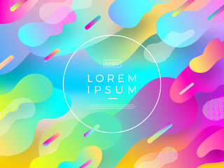 Abstract vector multicolored background. Composition with fluid shape and round frame for text or message.