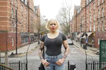 Portrait of a mixed race woman in an urban street