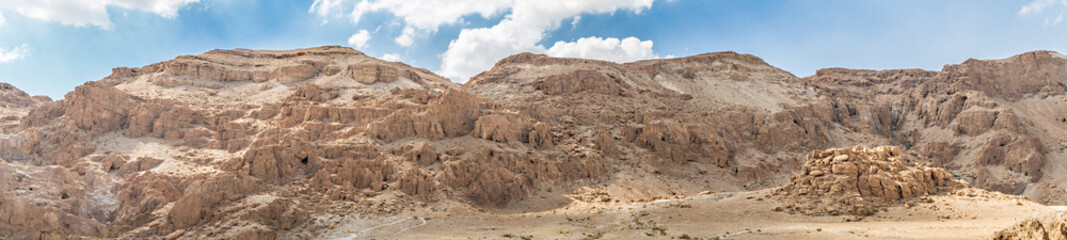 Panorama Qumran Scroll caves near Dead Sea, Israel