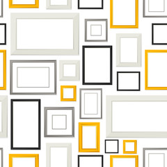 Seamless pattern of various frames for pictures and photos on wall