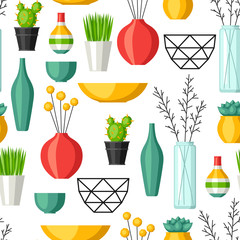 Home decoration vases, flower pots, succulents and cacti. Interior seamless pattern