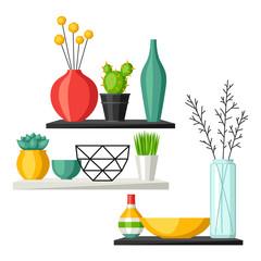 Home decoration vases flower pots, succulents and cacti. Interior illustration