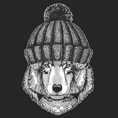 Cute animal wearing knitted winter hat Wolf Dog Hand drawn image for tattoo, emblem, badge, logo, patch