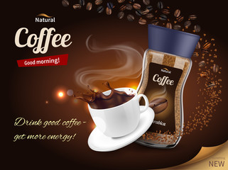 Coffee Advertisement Realistic Composition