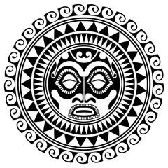 Polynesian tattoo design mask. Frightening masks in the Polynesian native ornament