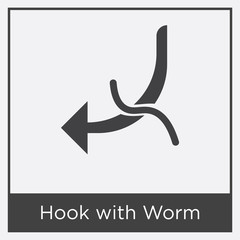 Hook with Worm icon isolated on white background