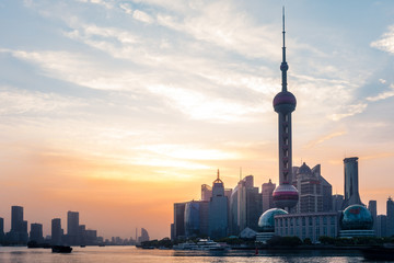 Bund Sunrise April 16 2018 in Shanghai China