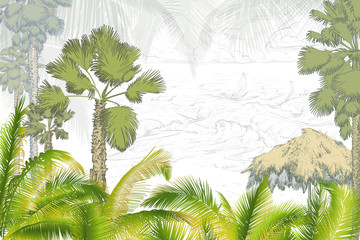 Fototapeta Palm trees with umbrella.