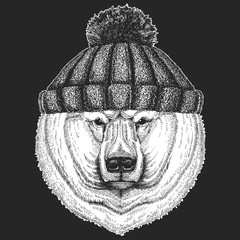 Cute animal wearing knitted winter hat Big polar bear, White bear Hand drawn illustration for tattoo, t-shirt, emblem, badge, logo, patch