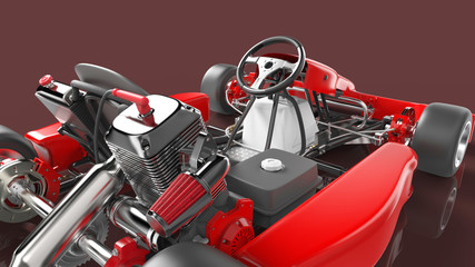 Go kart car. Karting. 3D rendering.