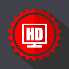 Hd display red sticker flat design vector icon