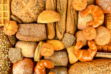 Wall Mural - Top view of bread. Healthy food background.
