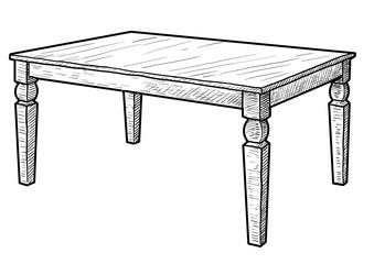 Wooden table illustration, drawing, engraving, ink, line art, vector