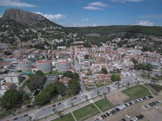 Drone en el Estartit y Islas Medas, localidad costera del Emporda  en Gerona, Costa Brava (Cataluña,España). Fotografia aerea con Dron.