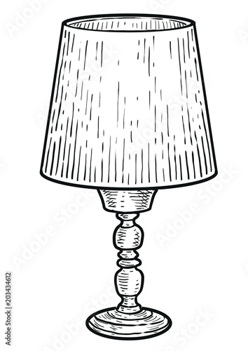 Table Lamp Ilration Drawing Engraving Ink Line Art Vector