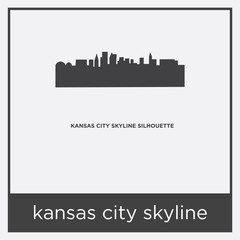 kansas city skyline icon isolated on white background