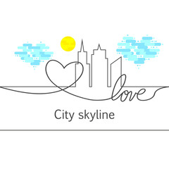 Silhouette of the city and heart and love and sun and cloud in continuous drawing lines in a flat style. Modern urban landscape. Vector illustrations. City skyscrapers building office horizon