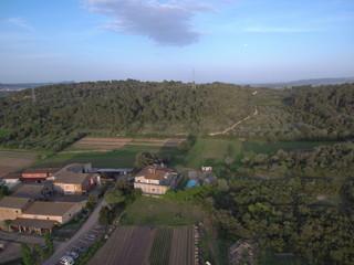 Drone en Llabia pueblo de Torroellla de Montgri en el Emporda  en Gerona, Costa Brava (Cataluña,España). Fotografia aerea con Dron.