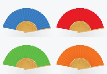 Colorful fan set. vector illustration