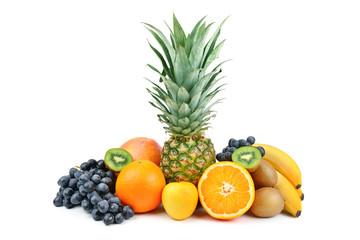 Set of fruits isolated on white background.