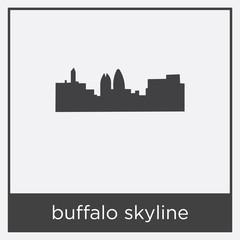 buffalo skyline icon isolated on white background