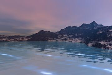 Snowy mountain, a polar landscape, beautiful sea with blue waters and a  sky with pink clouds.