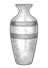 Vase illustration, drawing, engraving, ink, line art, vector