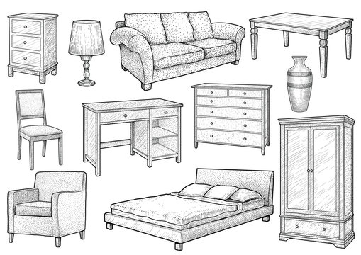 Furniture collection illustration, drawing, engraving, ink, line art, vector